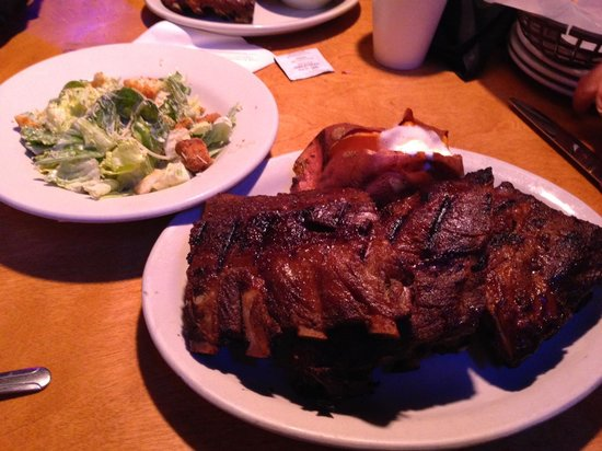 Texas Roadhouse: Full rack of ribs with sweet potato and salad