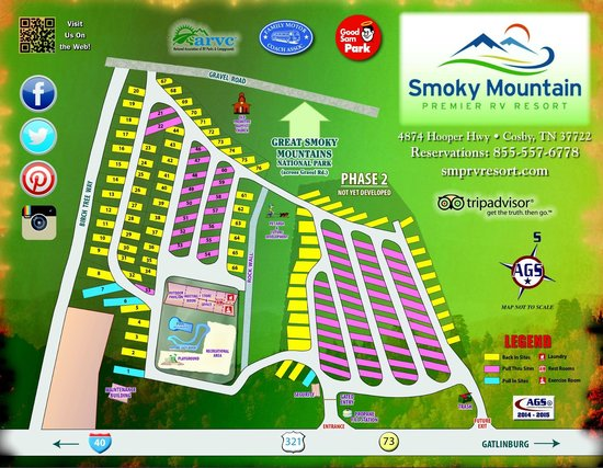 Gatlinburg East KOA Smoky Mountain Premier RV: Site Map