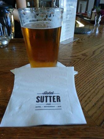 Enjoying an adult beverage at the Hotel Sutter bar... Lagunitas IPA!