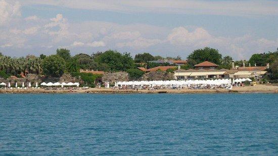 Can Garden Beach Hotel : Hotel vom Meer aus.