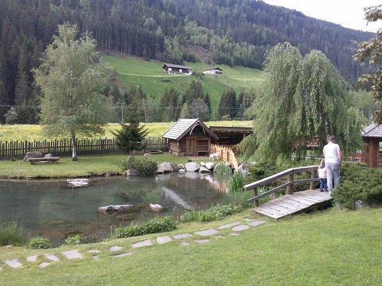 Alphotel Tyrol: Il bellissimo giardino con laghetto