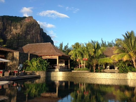 LUX* Le Morne: Pool and hotel with Le Morne Mountain in the background