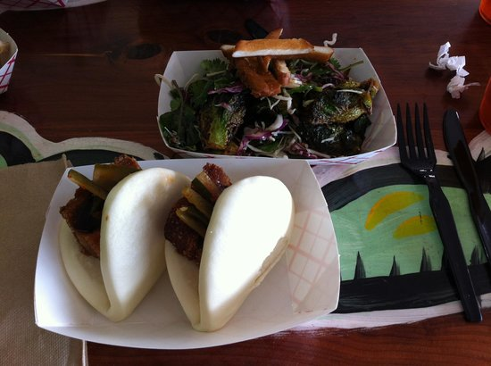 East Side King: Poor Qui's Buns and Brussels Sprout Salad.