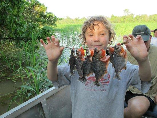 Muyuna Amazon Lodge : My son caught the biggest.