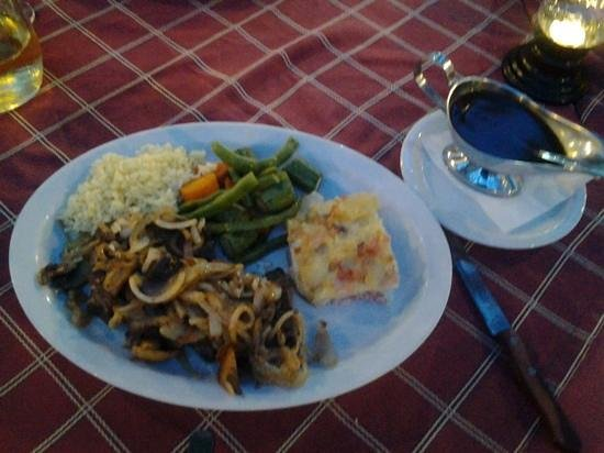 Sunset Taverna: fresh liver with fried onions and mushrooms, choice of fries, baked potatoes or sliced cream pot