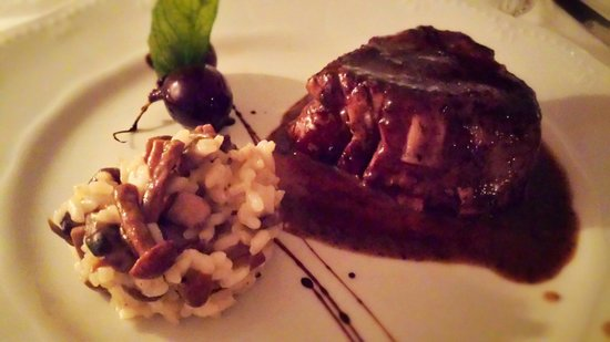 Ambrosia Restaurant: A tender veal fillet with mushroom risoto.