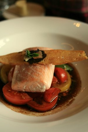 Castle Terrace Restaurant : Loch Duart salmon with an heirloom tomato salad and basil