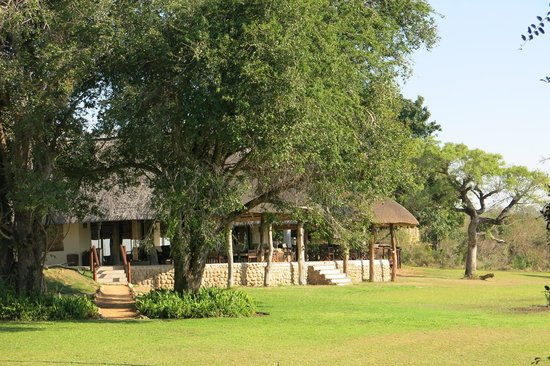 Inyati Game Lodge, Sabi Sand Reserve: Looking back from the lawn to deck on the main part of the lodge