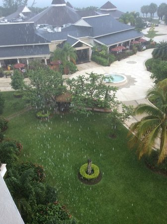Secrets Wild Orchid Montego Bay: Rain drops so large, they showed up in the photo!