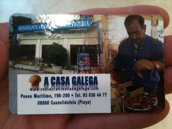 A Casa Galega: Tarjeta