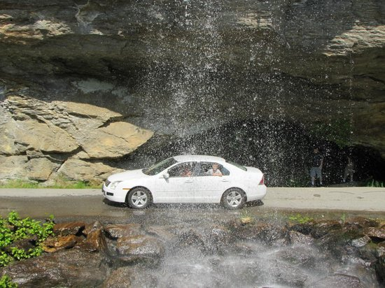 Driving under Bridal Veil Falls off Route 64