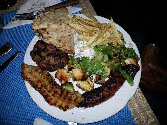 Oinos: Mixed grill for 1 person. Delicious,  very good meat and good prepared