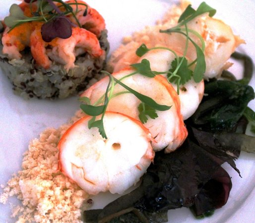 The Dining Room at Royal Sportsman Hotel: Starter: Smoked Lobster & Quinoa with sea vegetables & crayfish dressing.