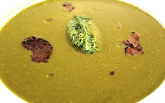 The Dining Room at Royal Sportsman Hotel: Starter: Cream Of Watercress Soup with wild garlic pesto & truffles.