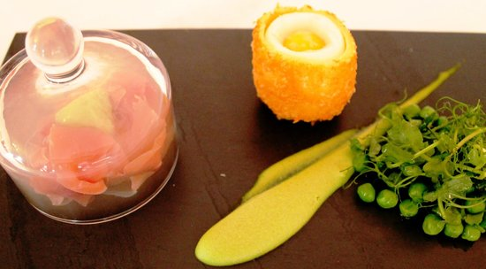 The Dining Room at Royal Sportsman Hotel: Starter: Lavender-Scented Carmarthenshire Ham with pea textures & crisp duck egg.
