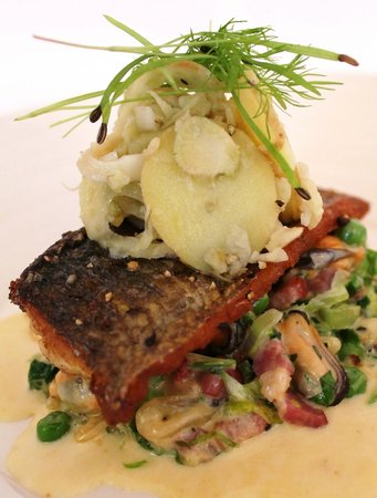 The Dining Room at Royal Sportsman Hotel: Main course: Pan-Fried Wild Sea Bass with petit pois a la Francais, mussels, potato
