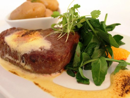 The Dining Room at Royal Sportsman Hotel: Main course: Poached Fillet Of Welsh Beef with orange salad, orange sabayon, new potatoes