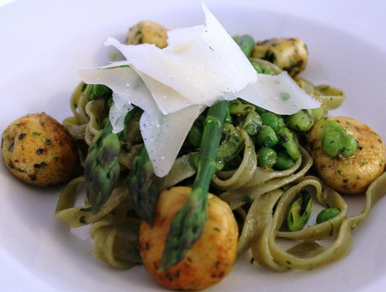 The Dining Room at Royal Sportsman Hotel: Main course: Fresh Spinach Tagliatelle with asparagus, broad beans, peas & ricotta dumplings.