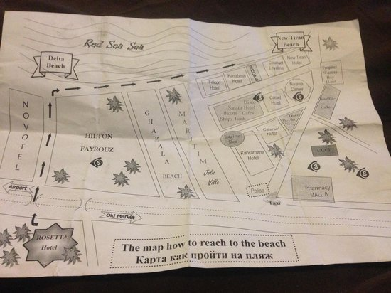 Tropicana Rosetta & Jasmine Club : Map we were given to find the private (tiny) part of the beach and naama bay strip