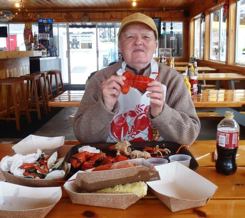 Boothbay Lobster Wharf: Eugene in his Lobster Heaven!
