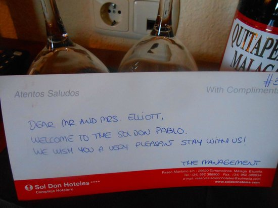 Sol Don Pablo: welcome gifts