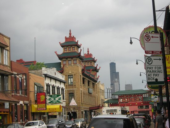 Chicago Food Planet Food Tours: Chinatown with the Willis Tower in the background.