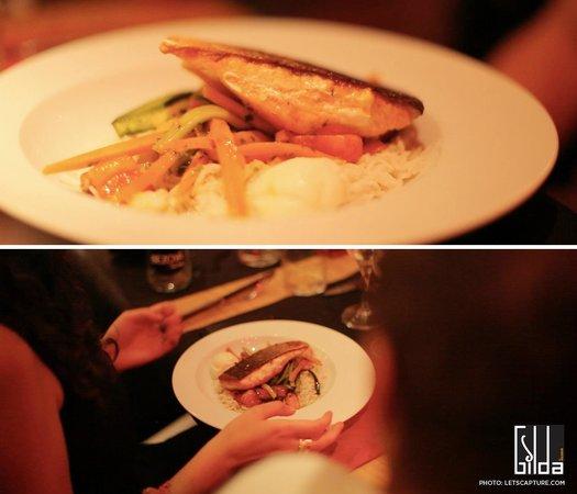 Gilda by Belgious : Salmon with teriyaki sauce, veggies and wasabi ice