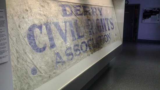Museum of Free Derry: The actual peace march banner, stained with blood