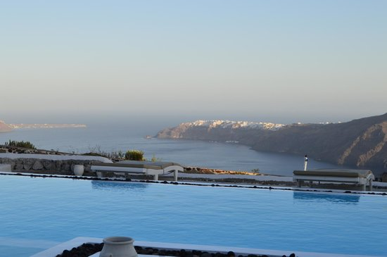 Santorini's Balcony: Views from the room over the pool area.