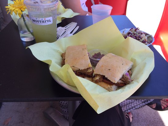 Mouthful Eatery : Pork sandwich, slaw, and cucumber mint lemonade! Amazing!