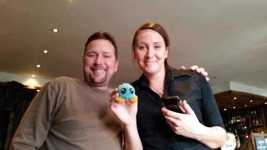 Cuan Mor: Fantastic waitress with our vacation mascot,  jubby!