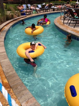 Wyndham Grand Orlando Resort Bonnet Creek: My son relaxing in the lazy river