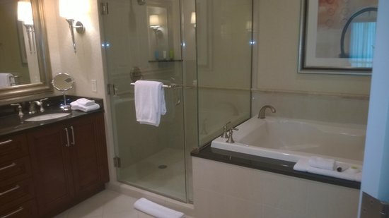 Signature at MGM Grand: bathroom in tower one, seventh floor. jacuzzi tub, tv out of view, very nice