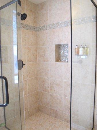 """Sunflower Hill, A Luxury Inn : Sunporch Room's """"perfect"""" shower."""