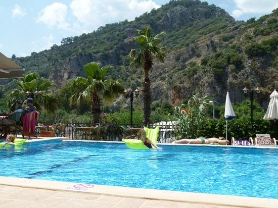 Dalyan Tezcan Hotel: Tezcan's pool with stunning view beyond