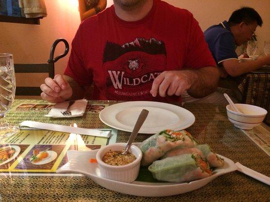 Sombat's Fresh Thai Cuisine: Basil Spring Rolls with Shrimp!