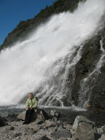 Nugget Falls: My wife sitting next to falls