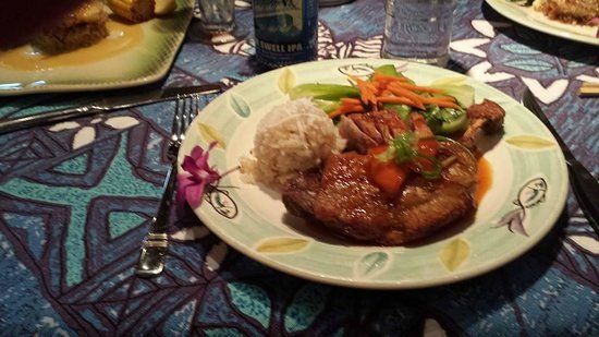 Mama's Fish House: Crispy Kahlua Duck with coconut rice and veggies