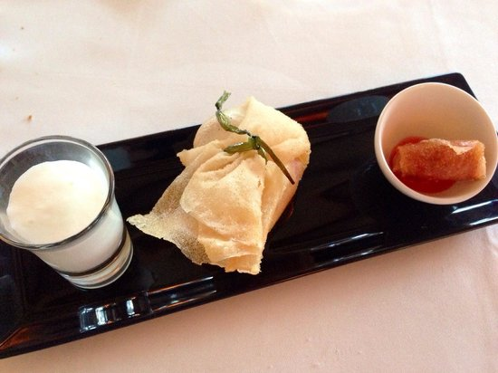 """SA Romana: Mise- en- bouche, consisting of a melon soup, a gorgeous prawn and cream cheese """"basket"""" and a c"""