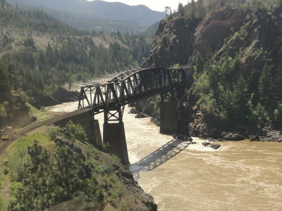 The Rocky Mountaineer Train: Looking back at the train crossing