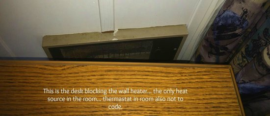 Lighthouse Lodge & Cottages: Desk blocks the only heat source in the room.... FIRE HAZARD