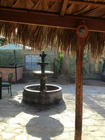 Fountain in the central courtyard at the Iguana Inn