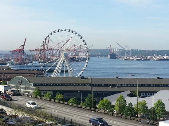 The Seattle Waterfront and Ferris wheel as viewed from Pike Place Market