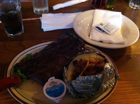 Proud Cut Saloon: Half Rack of Ribs. I couldn't finish the potato the ribs were so big!