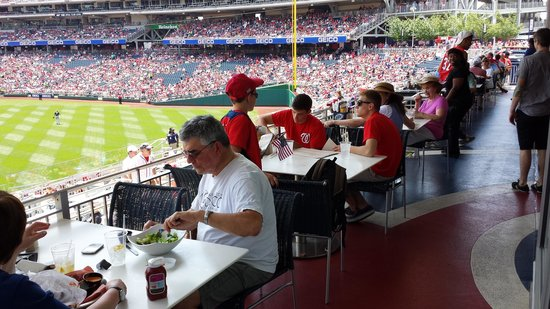 Nationals Park: Shaded tables