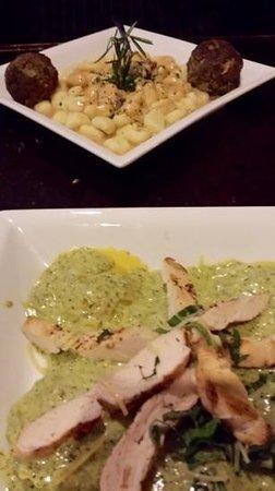 Delvino's Grill & Pasta House: gnocchi wirh meatballs in mushroom sauce and spinach mushroom ravioi in basil pesto sauce with g