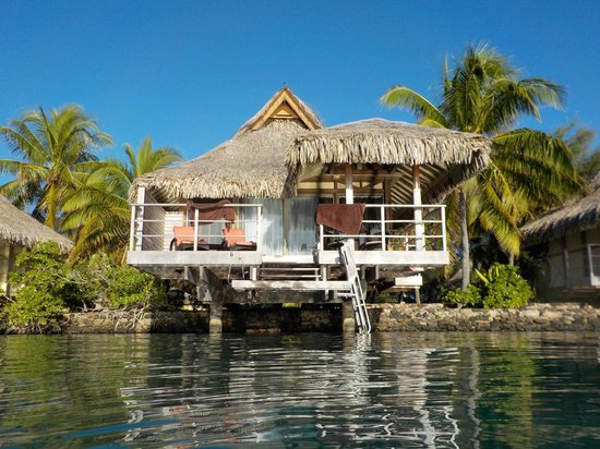 InterContinental Moorea Resort & Spa : From the water, a view of the #623 over water bungalow