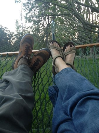 Clearwater Lodge at the Pit River: In the hammock after a day fishing.
