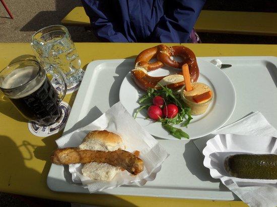 Prater Garten: Brawurst, beer, and pretzels!