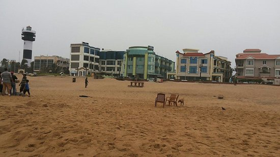Puri Beach Resort (extreme left one) as viewed from the sea beach.